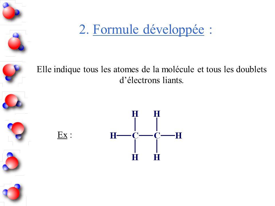 2. Formule développée : Ex : Elle indique tous les atomes de la molécule et tous les doublets d'électrons liants.