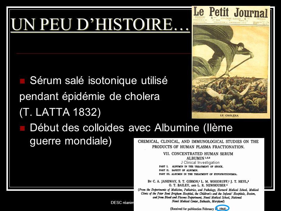 DESC réanimation Médicale Juin 2010 UN PEU D'HISTOIRE…  Sérum salé isotonique utilisé pendant épidémie de cholera (T. LATTA 1832)  Début des colloid
