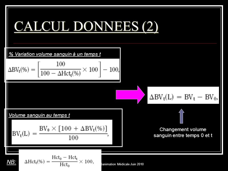 DESC réanimation Médicale Juin 2010 CALCUL DONNEES (3) Changement en volume d'eau totale du corps entre temps 0 et t Changement en volume de fluides extra-vasculaire entre temps 0 et t