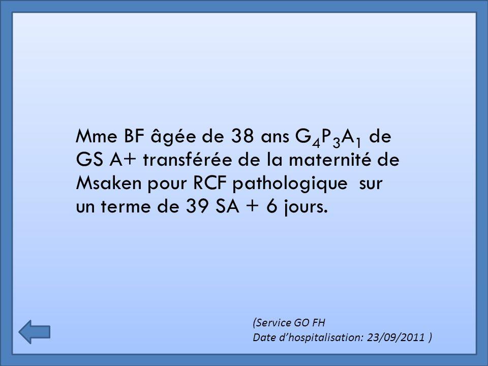 Mme BF âgée de 38 ans G 4 P 3 A 1 de GS A+ transférée de la maternité de Msaken pour RCF pathologique sur un terme de 39 SA + 6 jours. (Service GO FH