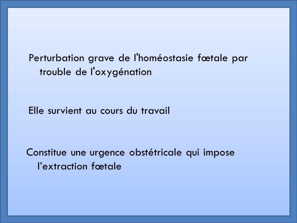 Perturbation grave de l'homéostasie fœtale par trouble de l'oxygénation Elle survient au cours du travail Constitue une urgence obstétricale qui impos