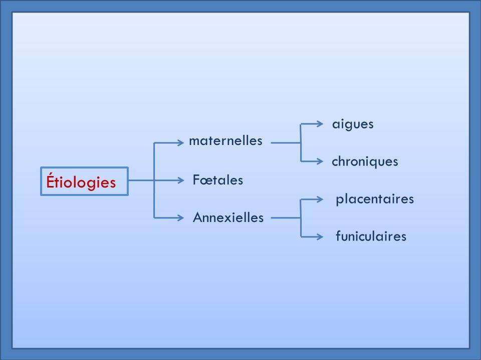 Étiologies maternelles Fœtales Annexielles aigues chroniques placentaires funiculaires