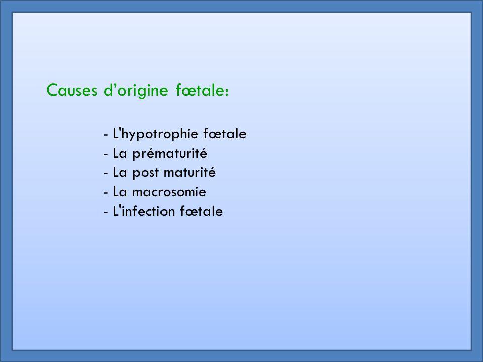 - L'hypotrophie fœtale - La prématurité - La post maturité - La macrosomie - L'infection fœtale Causes d'origine fœtale: