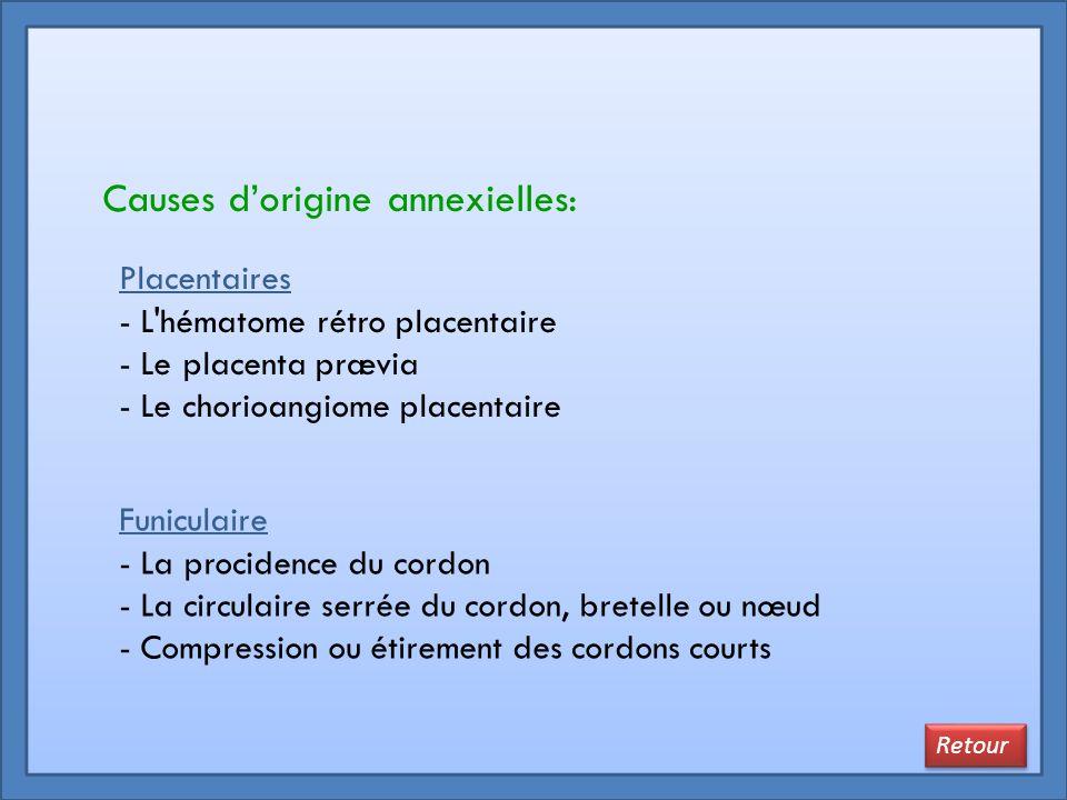 Placentaires - L'hématome rétro placentaire - Le placenta prævia - Le chorioangiome placentaire Funiculaire - La procidence du cordon - La circulaire