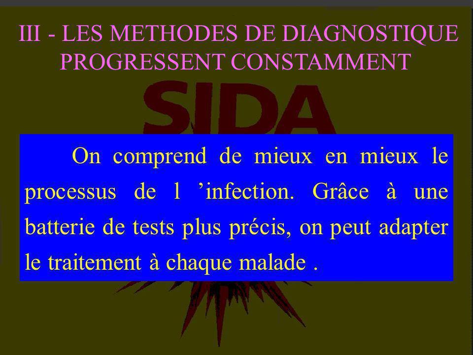 I - UN MAL QUI REPAND LA TERREUR II - L 'AVANCEE INEXORABLE DE L 'INFECTION III - LES METHODES DE DIAGNOSTIQUE PROGRESSENT CONSTAMMENT