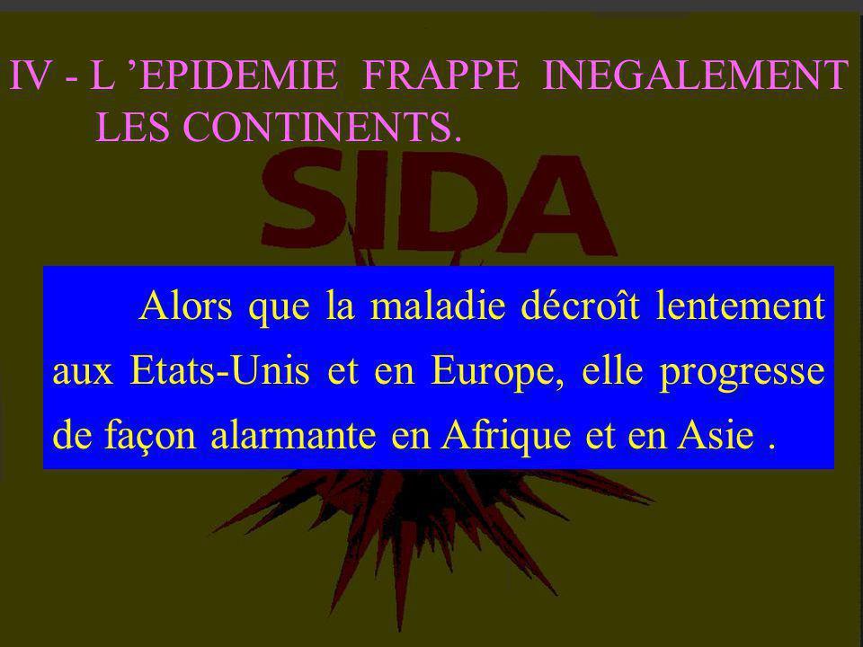 I - UN MAL QUI REPAND LA TERREUR II - L 'AVANCEE INEXORABLE DE L 'INFECTION III - LES METHODES DE DIAGNOSTIQUE PROGRESSENT CONSTAMMENT IV - L 'EPIDEMI