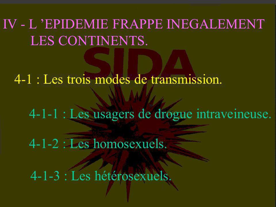 IV - L 'EPIDEMIE FRAPPE INEGALEMENT LES CONTINENTS. Alors que la maladie décroît lentement aux Etats-Unis et en Europe, elle progresse de façon alarma
