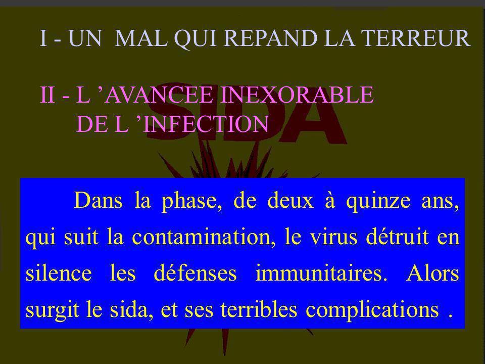 I - UN MAL QUI REPAND LA TERREUR 1-1 : Le mystérieux sida. 1-2 : L ' identification du virus. 1-3 : Transfusion et sang contaminé. 1-4 : Un virus nouv