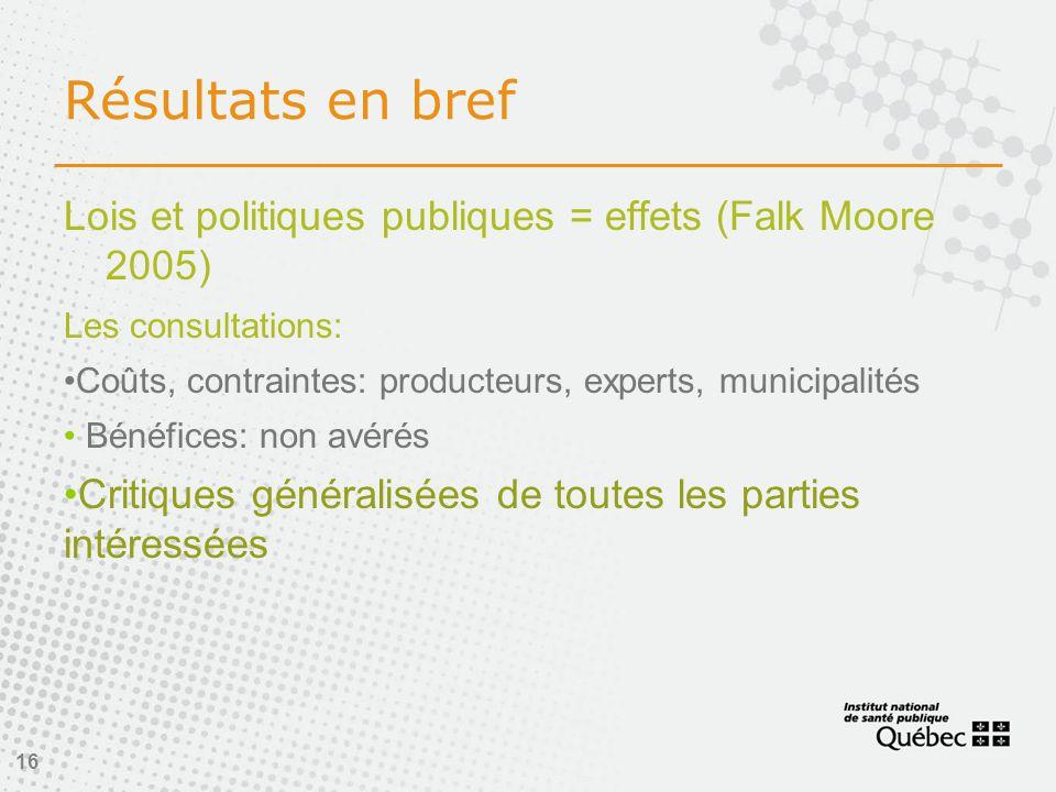 Résultats en bref Lois et politiques publiques = effets (Falk Moore 2005) Les consultations: •Coûts, contraintes: producteurs, experts, municipalités • Bénéfices: non avérés •Critiques généralisées de toutes les parties intéressées 16