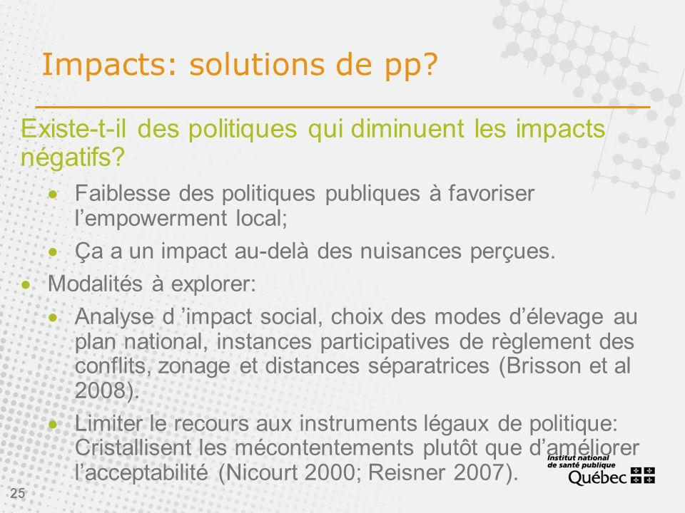 25 Impacts: solutions de pp. Existe-t-il des politiques qui diminuent les impacts négatifs.