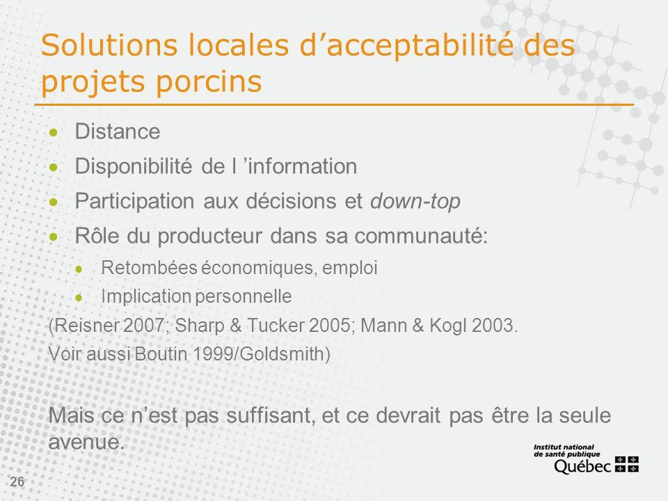26 Solutions locales d'acceptabilité des projets porcins  Distance  Disponibilité de l 'information  Participation aux décisions et down-top  Rôle du producteur dans sa communauté:  Retombées économiques, emploi  Implication personnelle (Reisner 2007; Sharp & Tucker 2005; Mann & Kogl 2003.