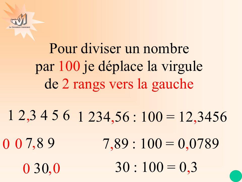 La Géométrie Autrement 1 2 3 4 5 6 Pour diviser un nombre par 10 je déplace la virgule de 1 rang vers la gauche 7 8 9, 123,456 : 10 = 12,3456, 789 : 1