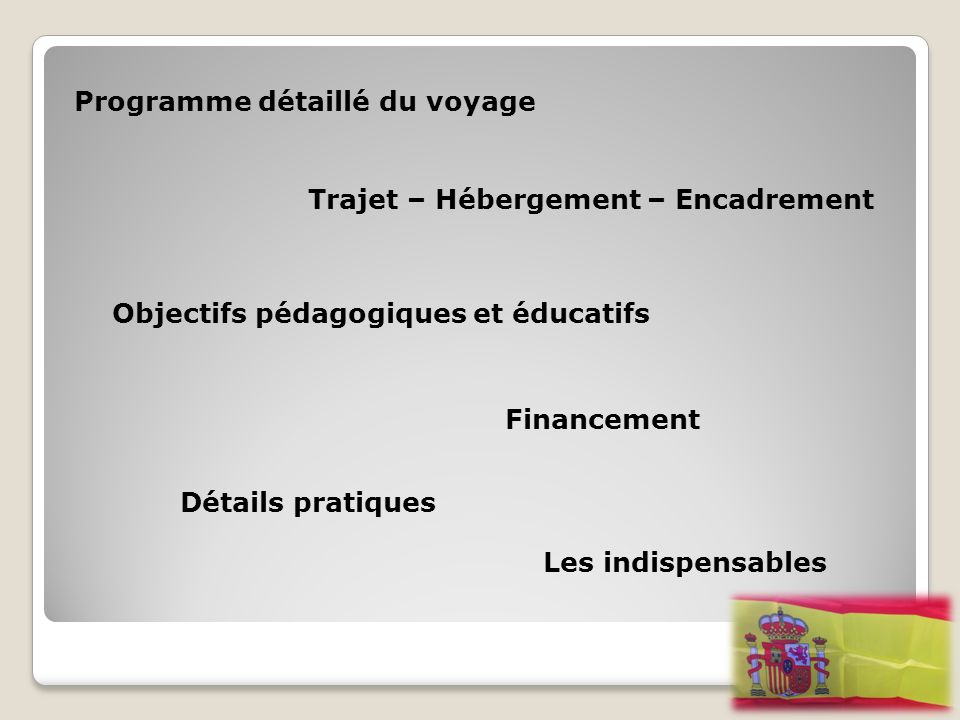 Programme détaillé du voyage Trajet – Hébergement – Encadrement Financement Objectifs pédagogiques et éducatifs Détails pratiques Les indispensables