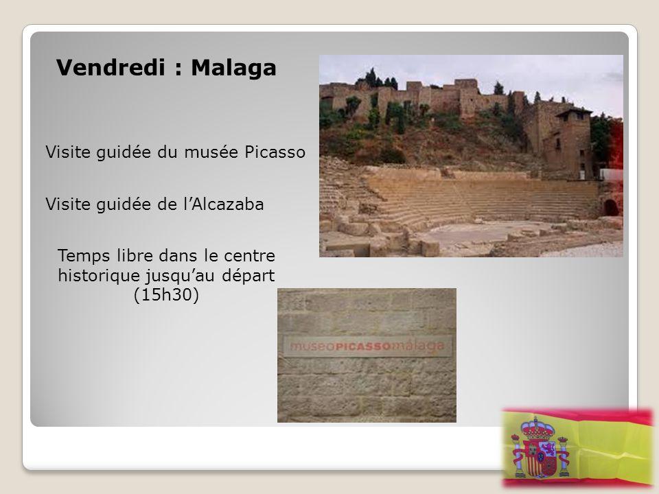 Vendredi : Malaga Visite guidée du musée Picasso Visite guidée de l'Alcazaba Temps libre dans le centre historique jusqu'au départ (15h30)