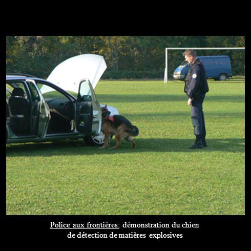 Police aux frontières: démonstration du chien de détection de matières explosives