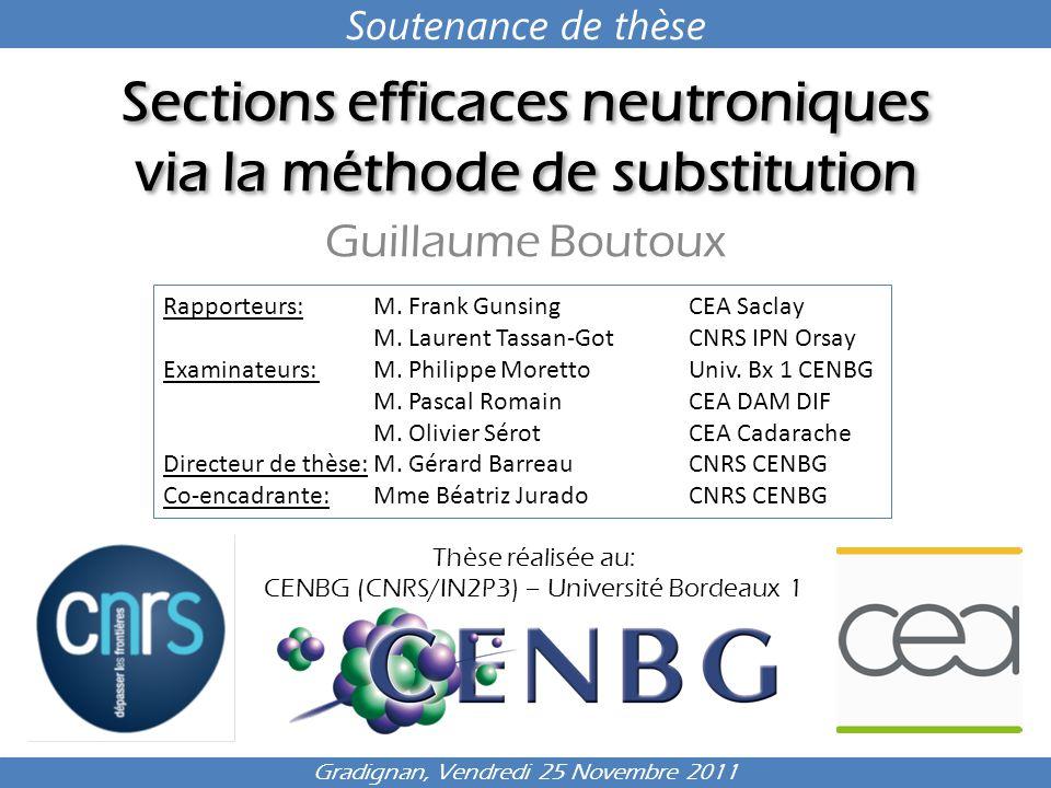 Sections efficaces neutroniques via la méthode de substitution Guillaume Boutoux Thèse réalisée au: CENBG (CNRS/IN2P3) – Université Bordeaux 1 Gradign