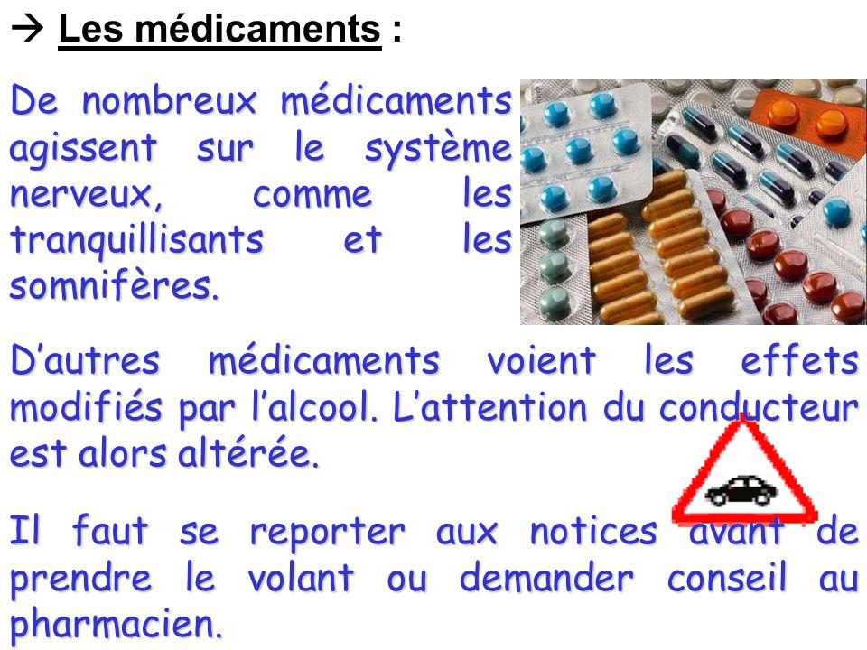  Les médicaments : De nombreux médicaments agissent sur le système nerveux, comme les tranquillisants et les somnifères.