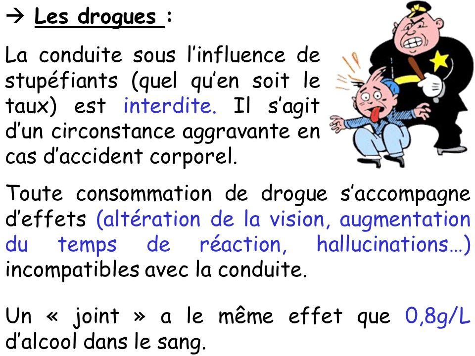  Les drogues : La conduite sous l'influence de stupéfiants (quel qu'en soit le taux) est interdite.