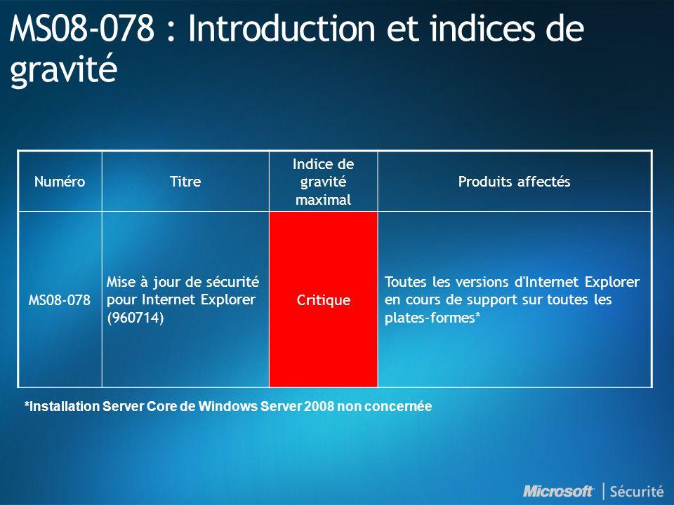 MS08-078 : Introduction et indices de gravité NuméroTitre Indice de gravité maximal Produits affectés MS08-078 Mise à jour de sécurité pour Internet Explorer (960714) Critique Toutes les versions d Internet Explorer en cours de support sur toutes les plates-formes* *Installation Server Core de Windows Server 2008 non concernée