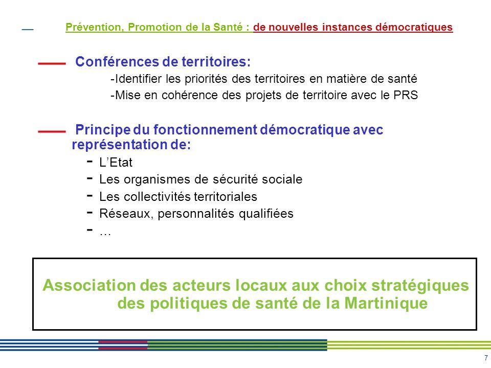 7 Conférences de territoires: -Identifier les priorités des territoires en matière de santé -Mise en cohérence des projets de territoire avec le PRS P