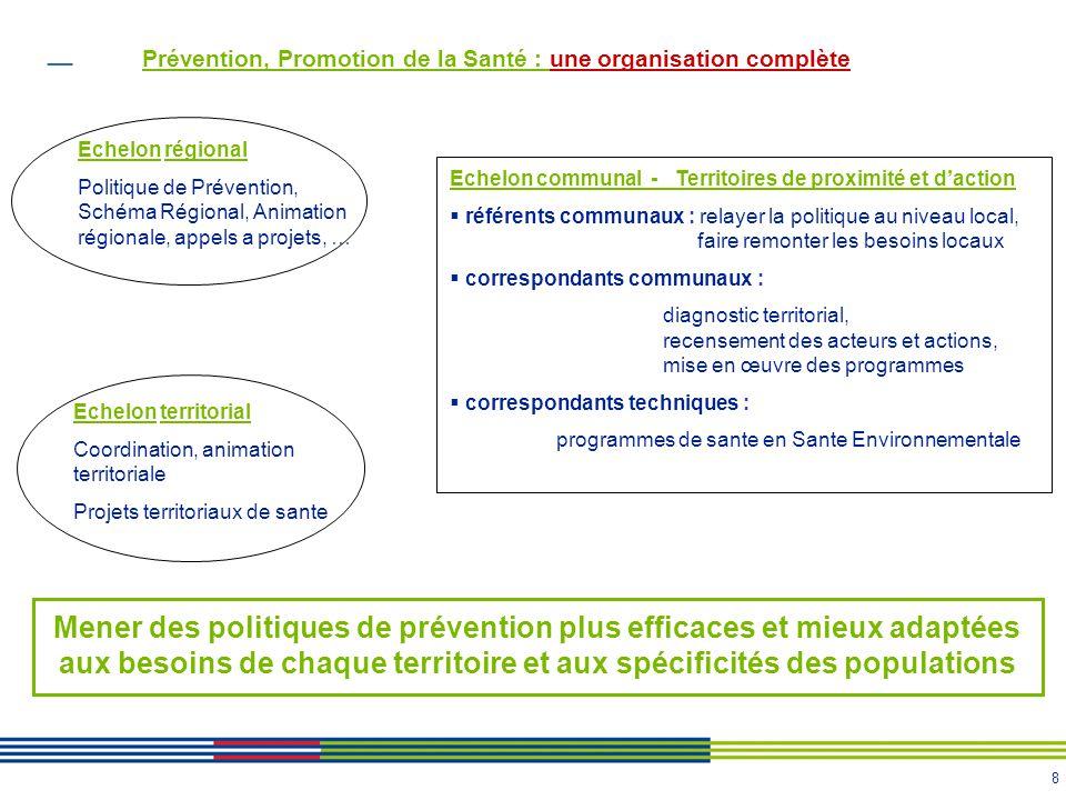 8 Prévention, Promotion de la Santé : une organisation complète Mener des politiques de prévention plus efficaces et mieux adaptées aux besoins de cha
