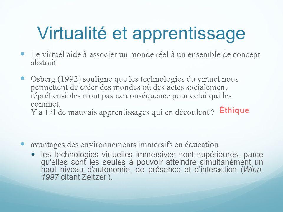 Virtualité et apprentissage  Le virtuel aide à associer un monde réel à un ensemble de concept abstrait.  Osberg (1992) souligne que les technologie