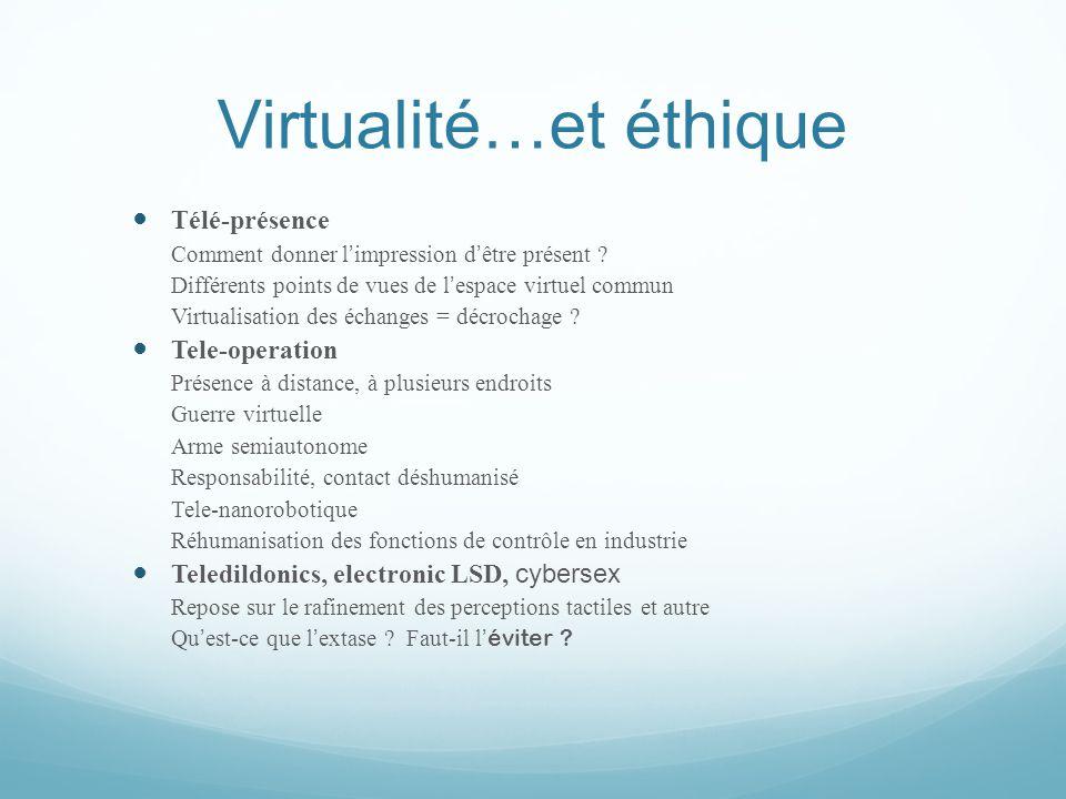 Virtualité…et éthique  Télé-présence Comment donner l ' impression d ' être présent ? Différents points de vues de l ' espace virtuel commun Virtuali