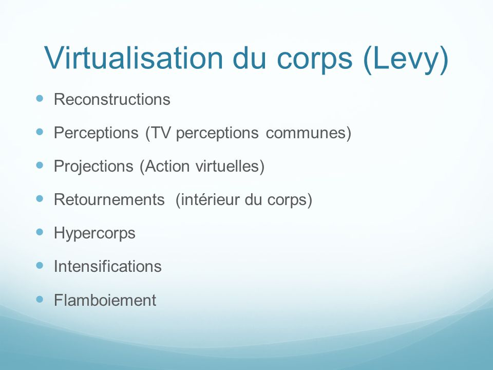 Virtualisation du corps (Levy)  Reconstructions  Perceptions (TV perceptions communes)  Projections (Action virtuelles)  Retournements (intérieur