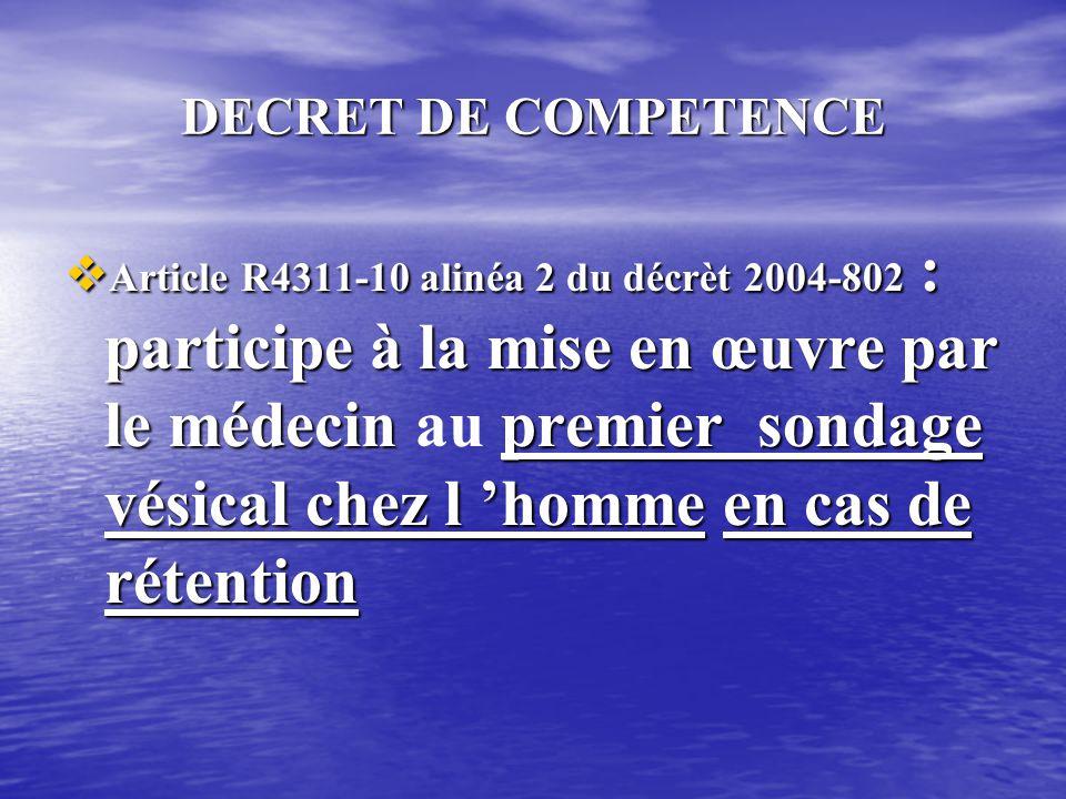 DECRET DE COMPETENCE ROLE SUR PRESCRIPTION • Article R4311-7 alinéa 15 du décret 2004-802 : pose de sonde vésicale en vue de prélèvements d 'urines, d