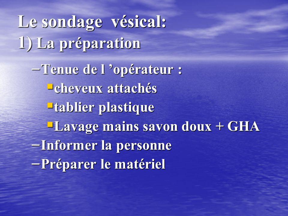 Le sondage vésical : les étapes 1)Préparation et toilette 2)Antisepsie du méat 3)Pose de la sonde 4) ECBU, fixation sonde, poche 5) élimination déchet
