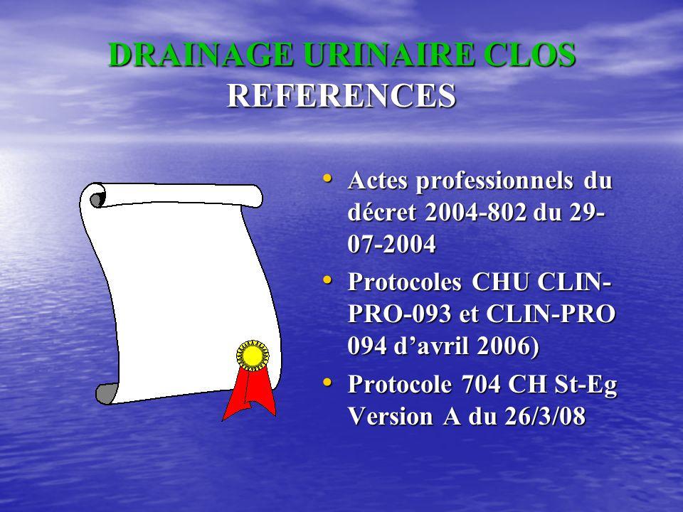DRAINAGE URINAIRE CLOS • LES REFERENTIELS • EPIDEMIOLOGIE • LES PROTOCOLES