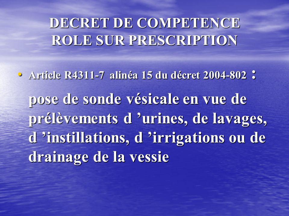 DECRET DE COMPETENCE ROLE PROPRE • Article R4311-5 alinéa 9 du décret 2004-802 : surveillance de l 'élimination intestinale et urinaire, changement de