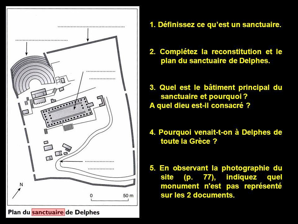 1. Définissez ce qu'est un sanctuaire. 2. Complétez la reconstitution et le plan du sanctuaire de Delphes. 3. Quel est le bâtiment principal du sanctu