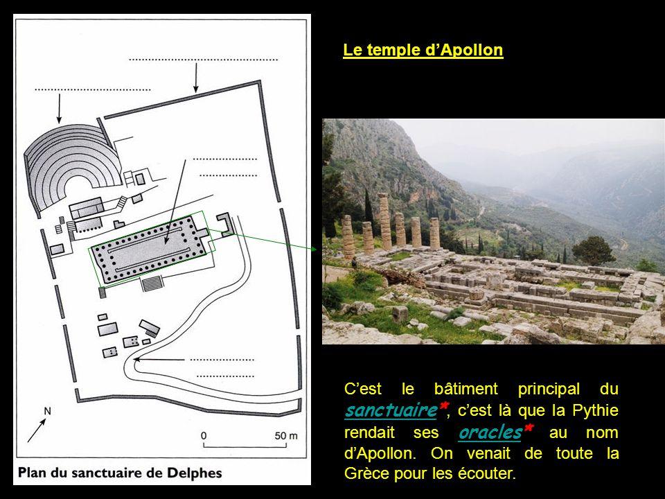Le temple d'Apollon C'est le bâtiment principal du sanctuaire*, c'est là que la Pythie rendait ses oracles* au nom d'Apollon. On venait de toute la Gr