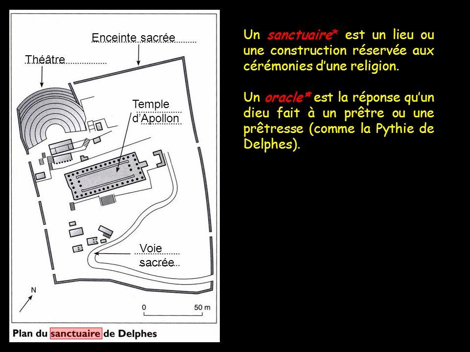 Un sanctuaire* est un lieu ou une construction réservée aux cérémonies d'une religion. Un oracle* est la réponse qu'un dieu fait à un prêtre ou une pr