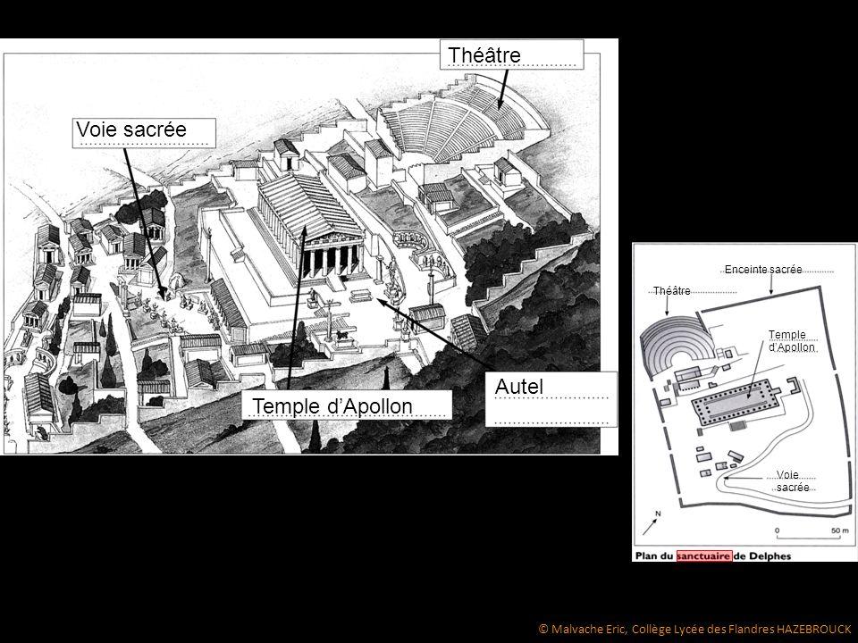 Théâtre Enceinte sacrée Temple d'Apollon Voie sacrée Temple d'Apollon Autel Voie sacrée Théâtre © Malvache Eric, Collège Lycée des Flandres HAZEBROUCK