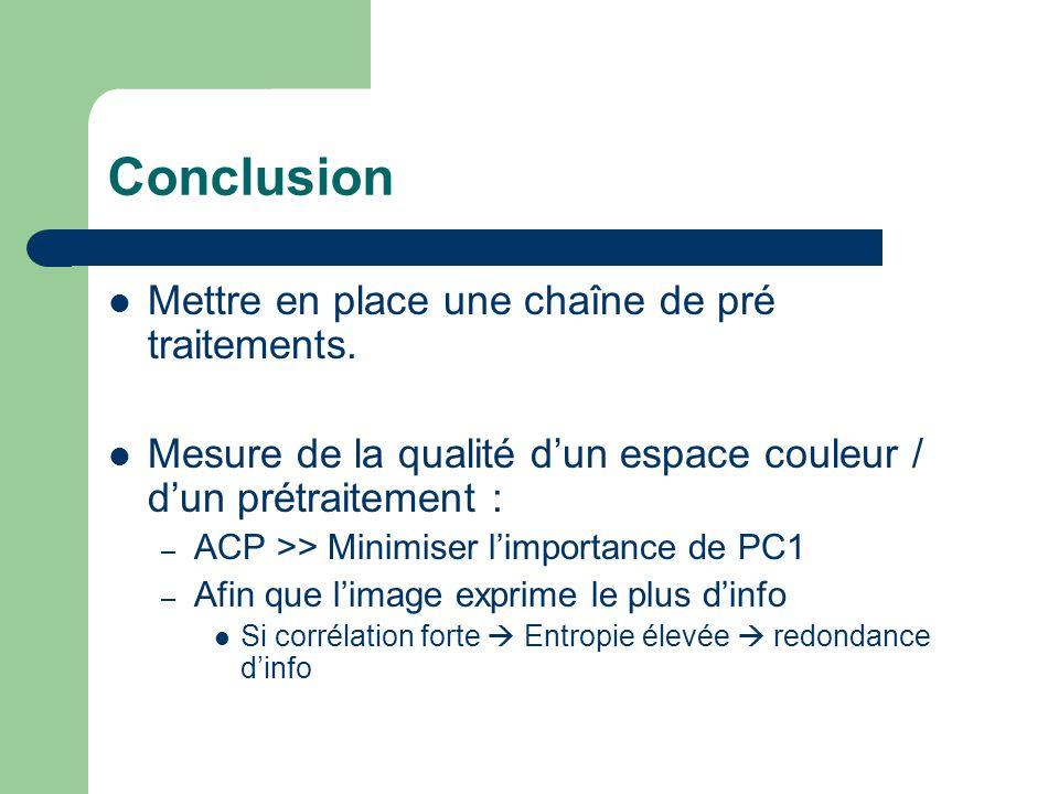 Conclusion  Mettre en place une chaîne de pré traitements.