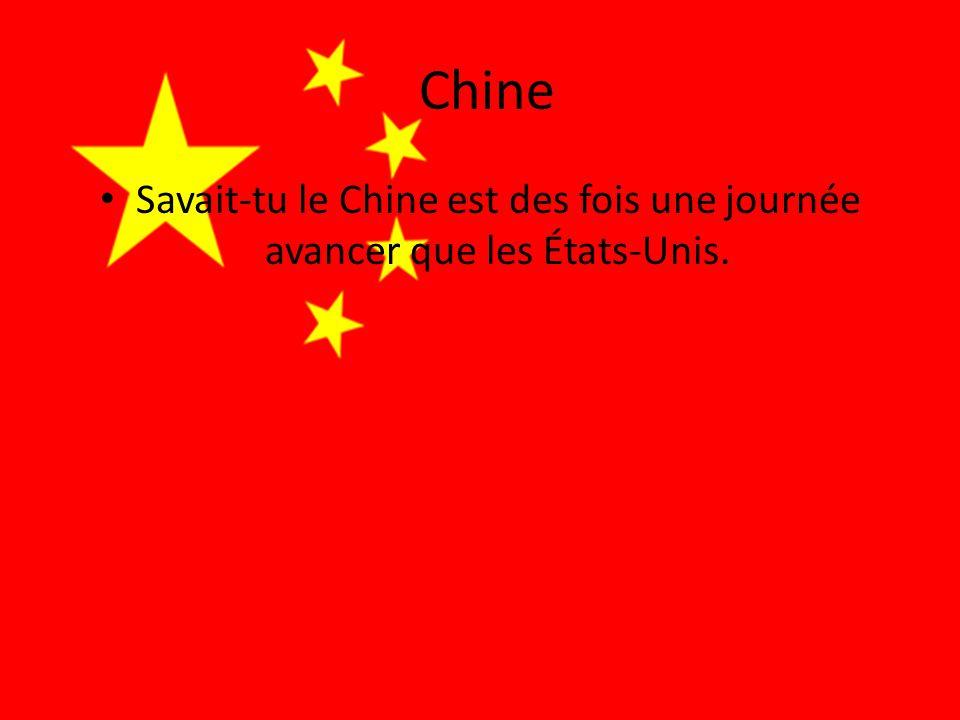 Chine • Savait-tu le Chine est des fois une journée avancer que les États-Unis.