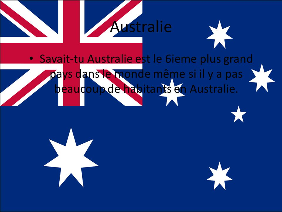 Australie • Savait-tu Australie est le 6ieme plus grand pays dans le monde même si il y a pas beaucoup de habitants en Australie.