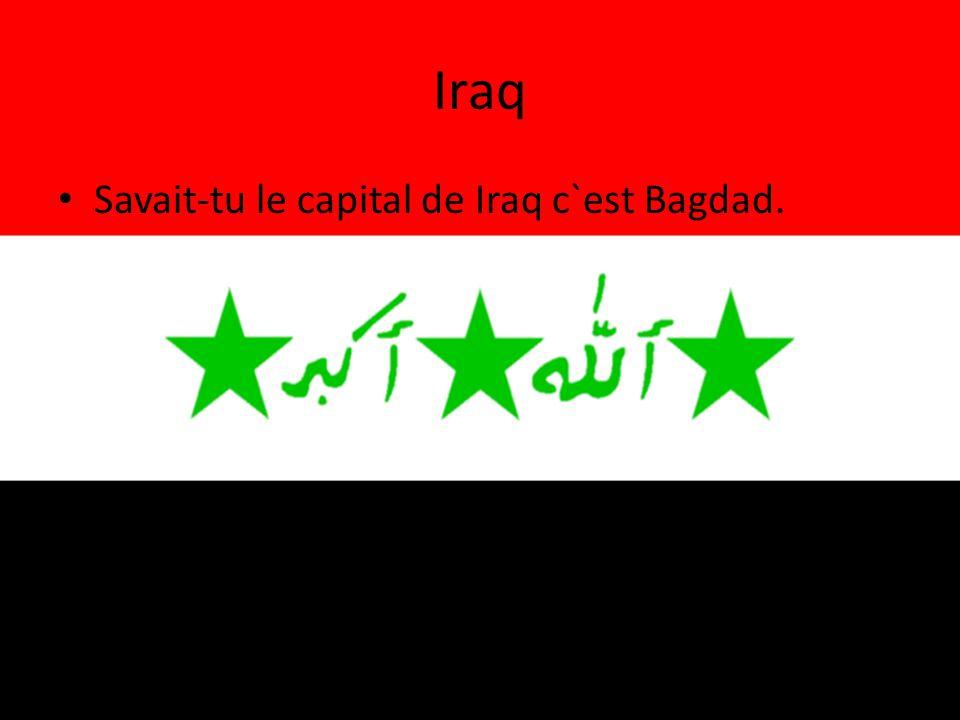 Iraq • Savait-tu le capital de Iraq c`est Bagdad.