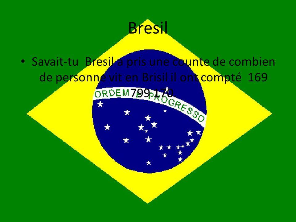 Bresil • Savait-tu Bresil a pris une counte de combien de personne vit en Brisil il ont compté 169 799 170.