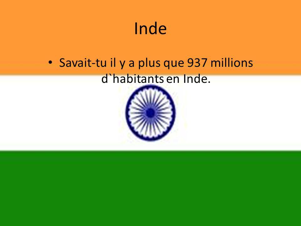 Inde • Savait-tu il y a plus que 937 millions d`habitants en Inde.