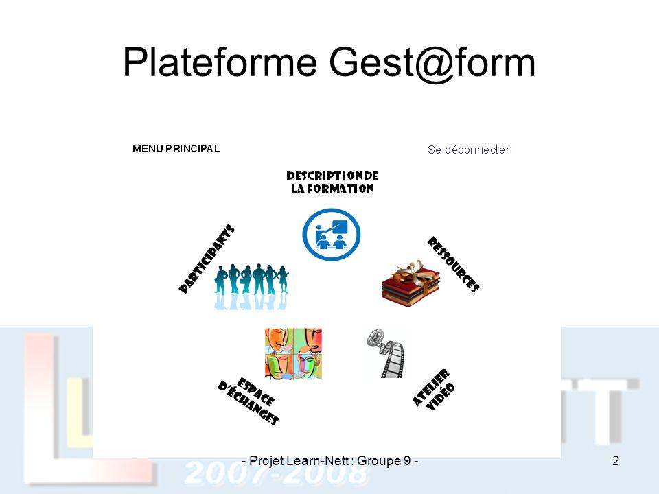 Plateforme Gest@form - Projet Learn-Nett : Groupe 9 -2