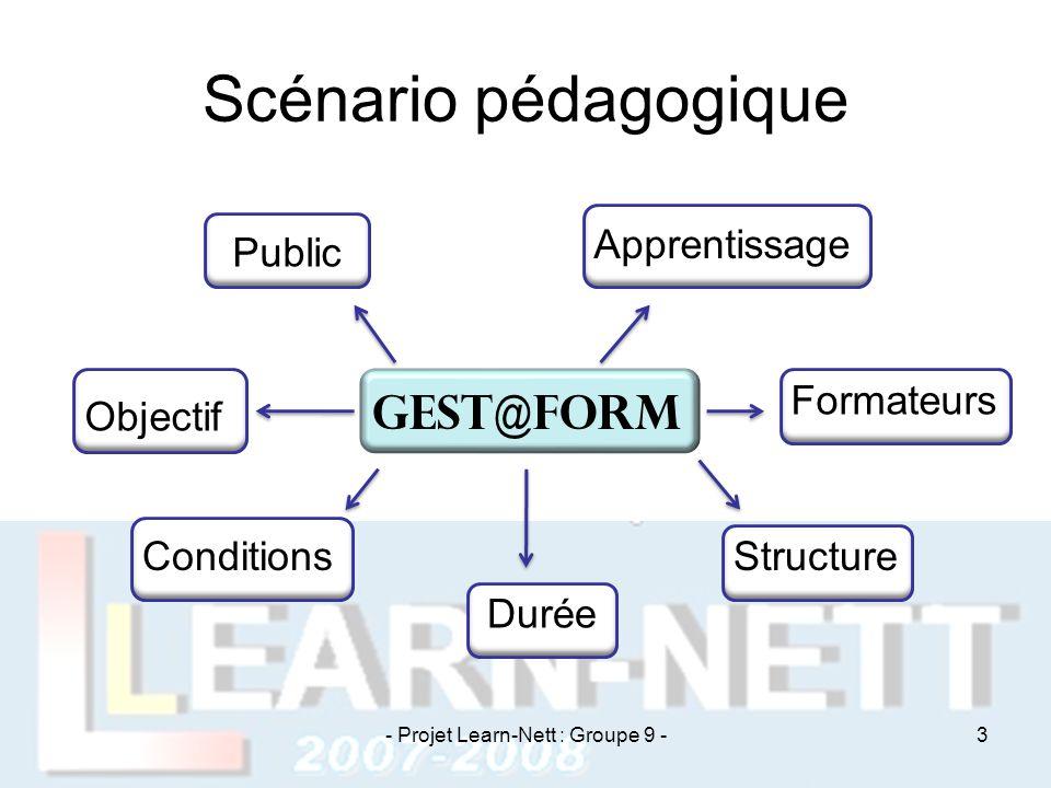 Scénario pédagogique Gest@Form Public Objectif Conditions Durée Structure Formateurs Apprentissage - Projet Learn-Nett : Groupe 9 -3