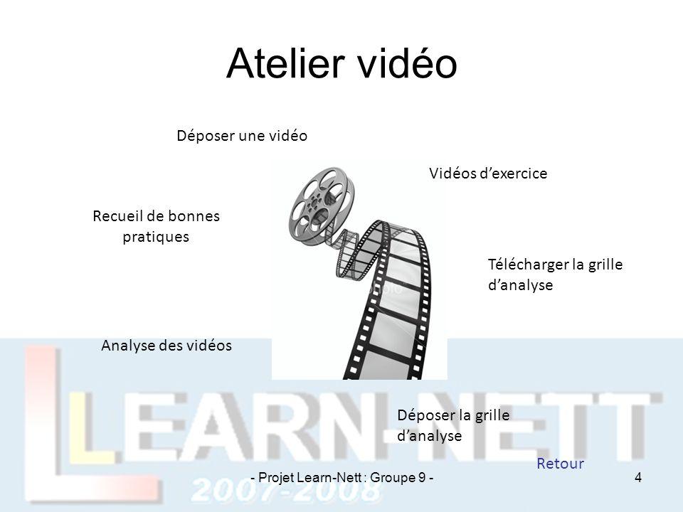 Atelier vidéo Déposer une vidéo Vidéos d'exercice Télécharger la grille d'analyse Déposer la grille d'analyse Analyse des vidéos Recueil de bonnes pra