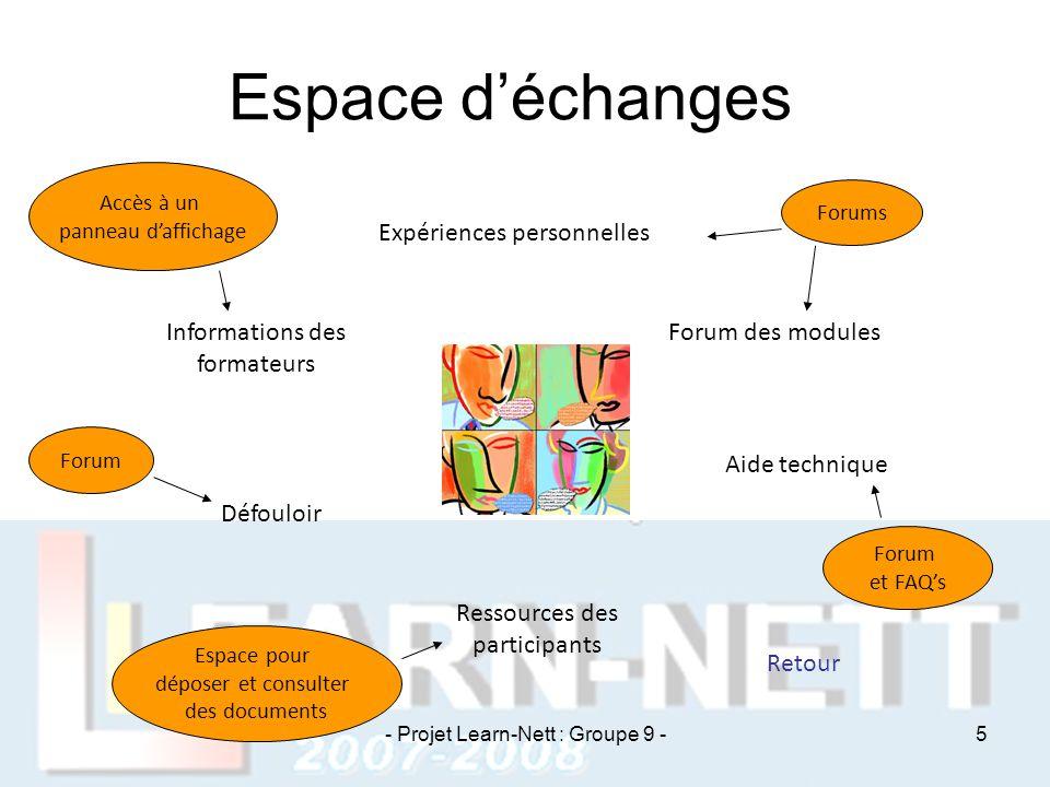 Espace d'échanges Expériences personnelles Forum des modules Aide technique Retour Ressources des participants Défouloir Informations des formateurs A