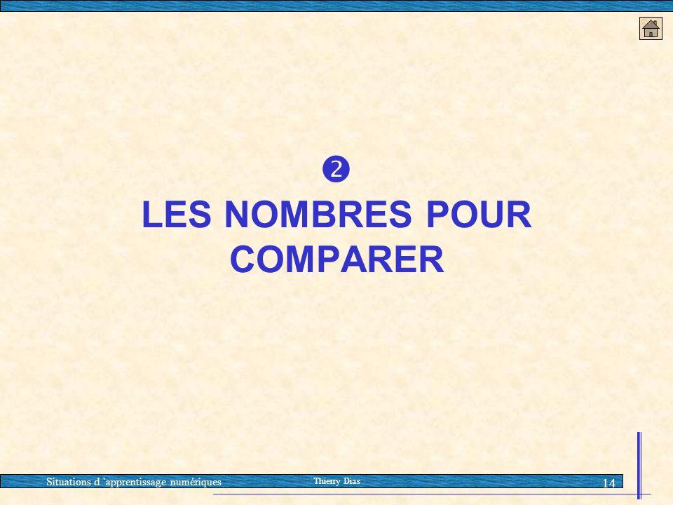 Situations d 'apprentissage numériques Thierry Dias 14  LES NOMBRES POUR COMPARER