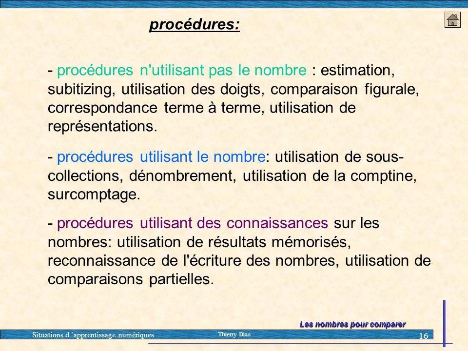 Situations d 'apprentissage numériques Thierry Dias 16 - procédures n'utilisant pas le nombre : estimation, subitizing, utilisation des doigts, compar