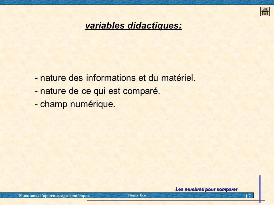 Situations d 'apprentissage numériques Thierry Dias 17 - nature des informations et du matériel. - nature de ce qui est comparé. - champ numérique. va