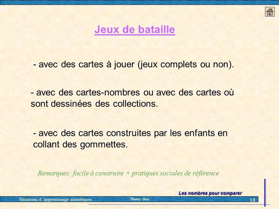Situations d 'apprentissage numériques Thierry Dias 18 Jeux de bataille - avec des cartes à jouer (jeux complets ou non). - avec des cartes-nombres ou